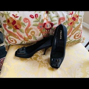 BLACK SATIN PRADA JEWELED OPEN TOE HEELS